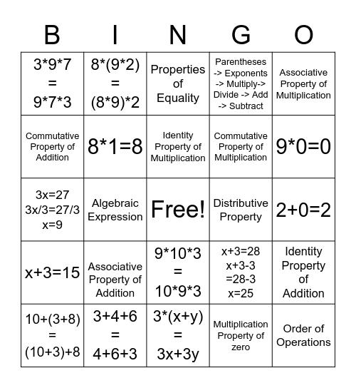 Properties of Numbers Bingo Card