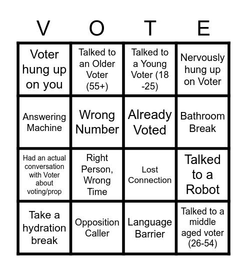 Phone Banking Bingo! Bingo Card