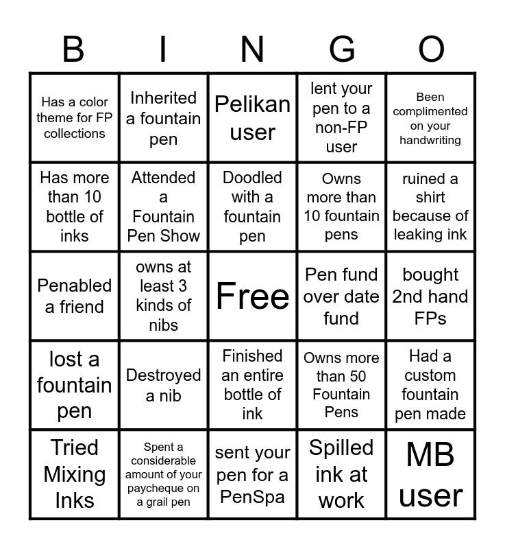 Spooktacular Pen Meet Bingo Card