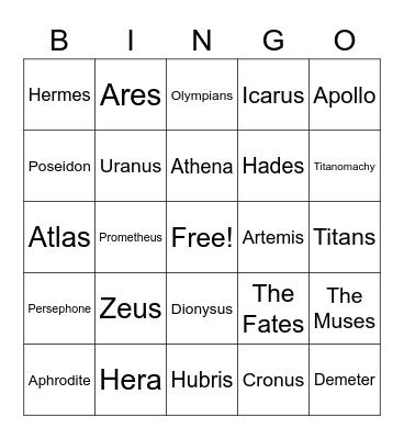 Mythology Bingo Card