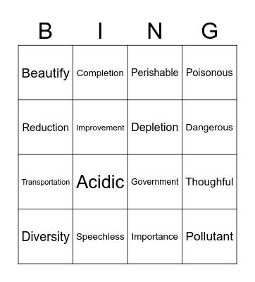 suffix bingo Card
