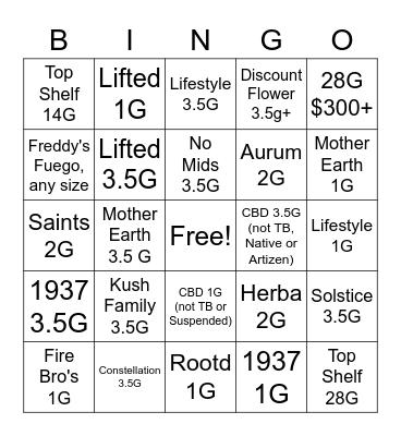 Flower Power Bingo Card