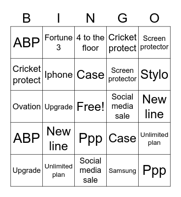 Cricket bingo Card