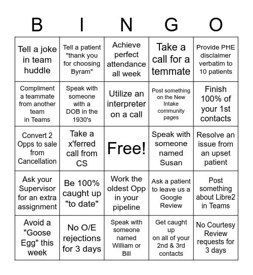 Customer Service Appreciation Week (MCARE) Bingo Card