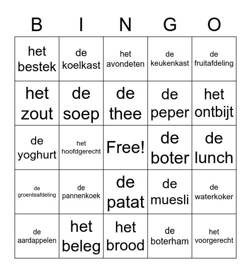 Nederlandse maaltijden Bingo Card