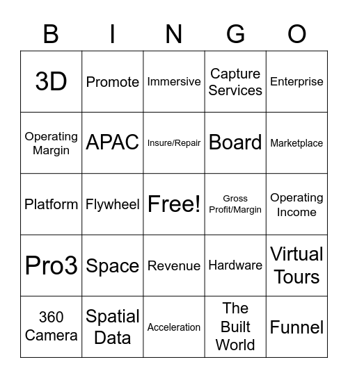 3D Bingo Card