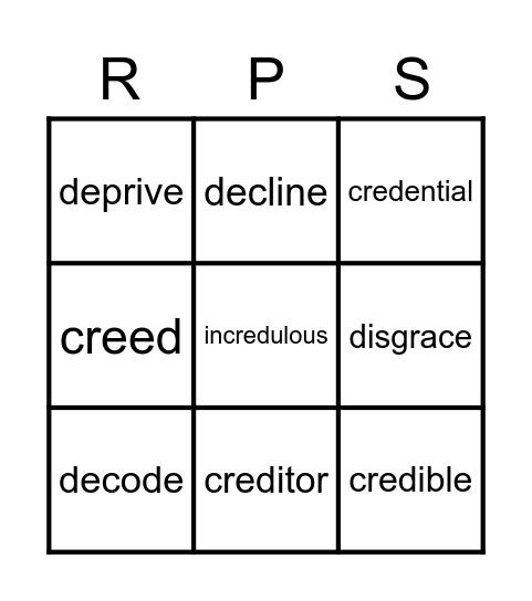 Roots, Prefixes, and Suffixes Bingo Card