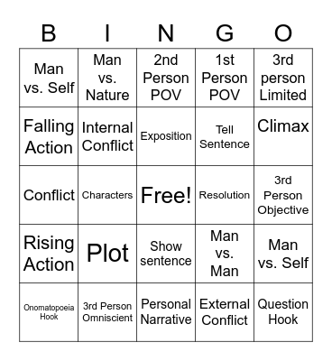 ELA Review Bingo Card