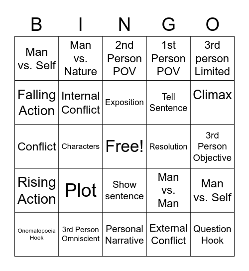 ELA Review Bingo Card