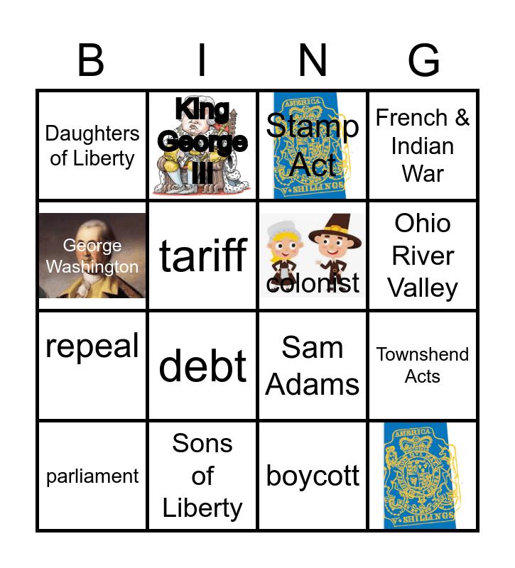Road to Revolution Bingo Card