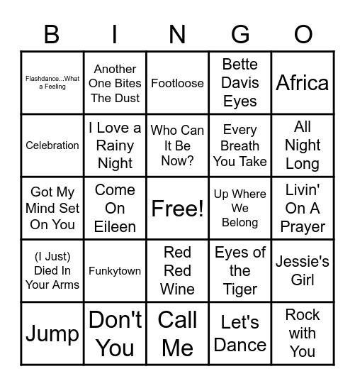 Rock 'N Roll Bingo - 80's #1's Bingo Card