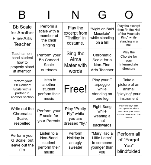 Band Bingo Card