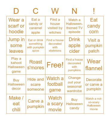 Hallown Bingo! Bingo Card