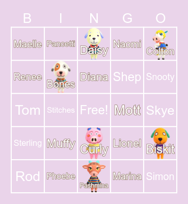 Animal Crossing (´・ω・`) Bingo Card