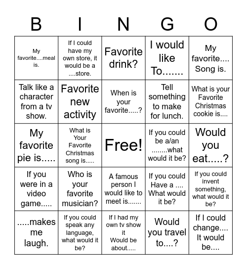 Conversation Bingo Card