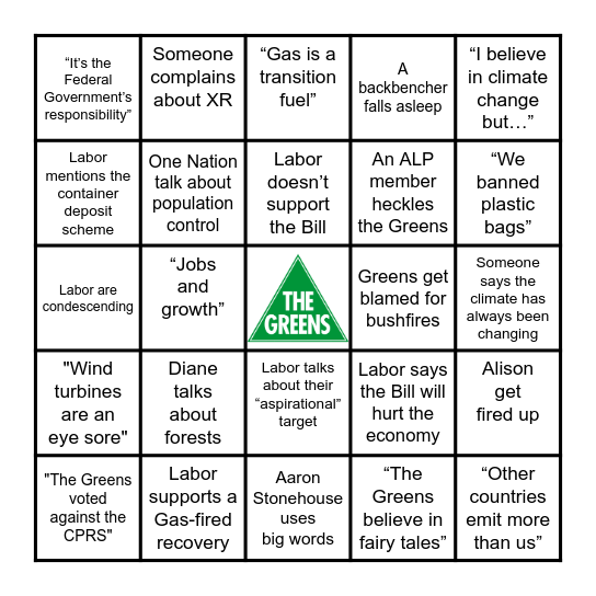 Climate Action Debate Bingo Card