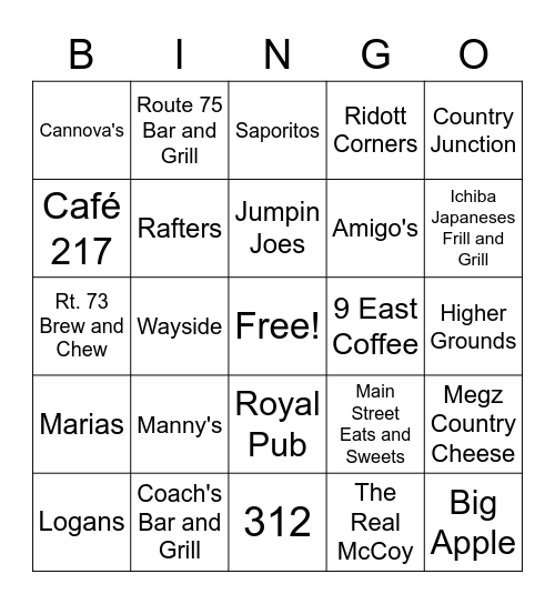 Stephenson County Restaurants Bingo Card