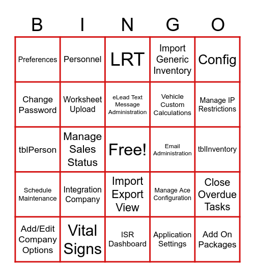 Elead Setup Bingo Card