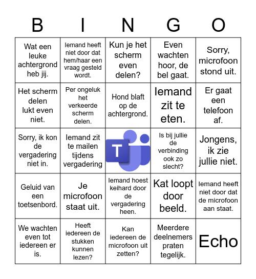 Online vergadering Bingo Card