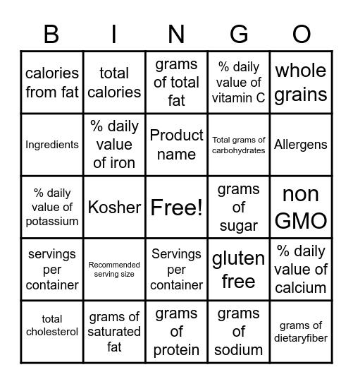 Food label BINGO Card
