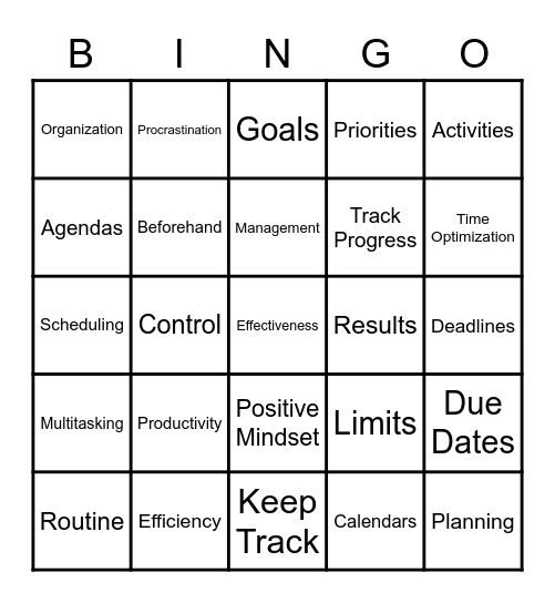 Time Management Bingo Card