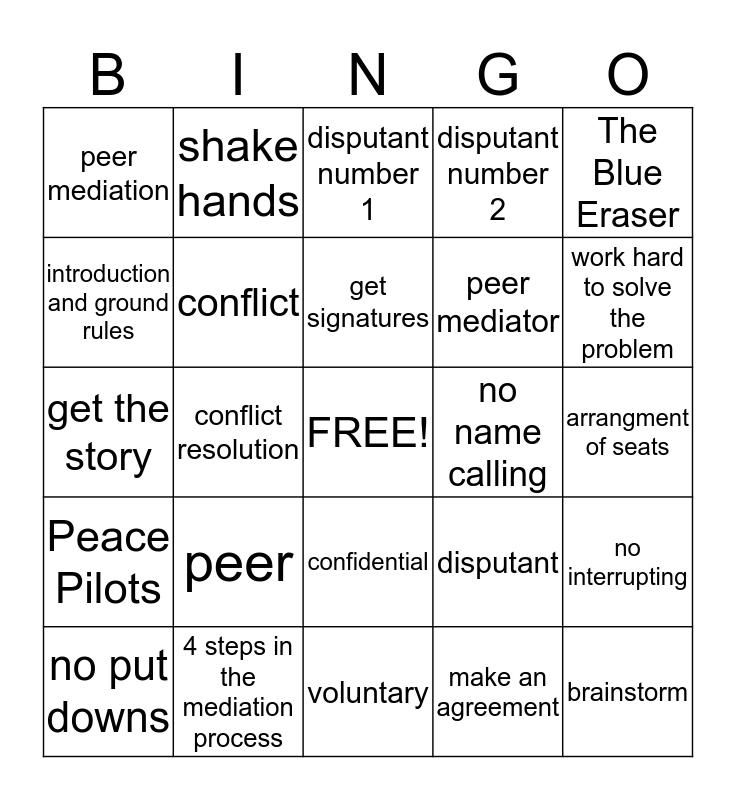 Peer Mediation Bingo Card