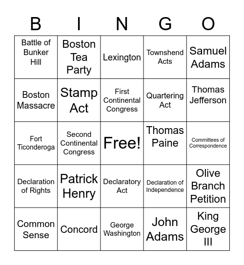 Causes of the American Revolution Bingo Card