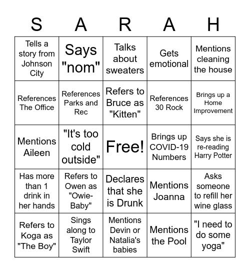 Sarah-Isms Bingo Card