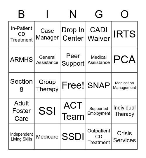 Community Resources Bingo Card