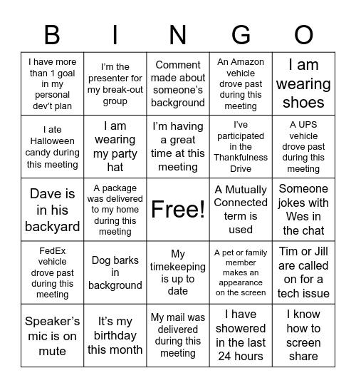 PULSE Bingo Card