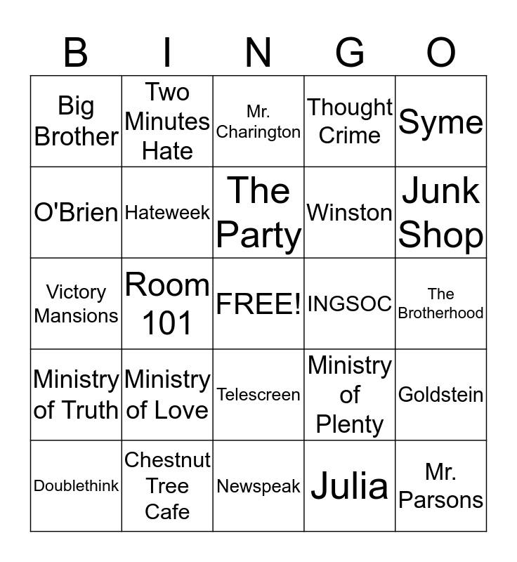 1984 BINGO  Bingo Card