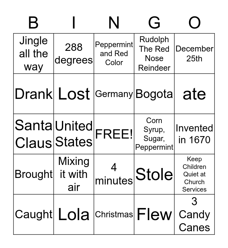 Ms. Carolina's Candy Cane Bingo 5 Bingo Card
