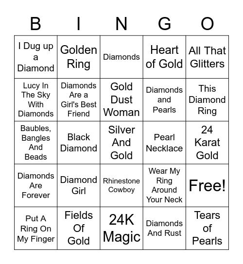 Songs About Jewelry Bingo Card