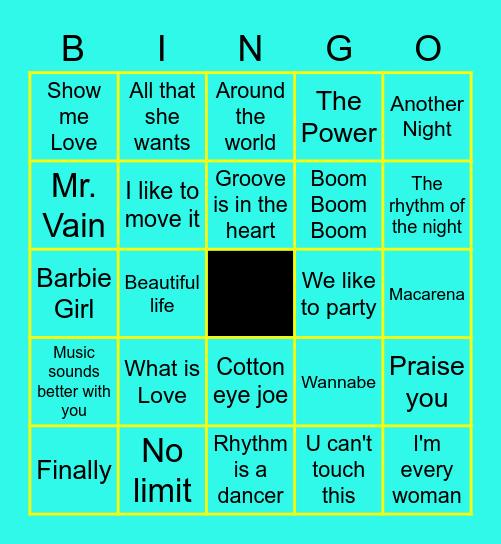 90s Dance Party Bingo Card