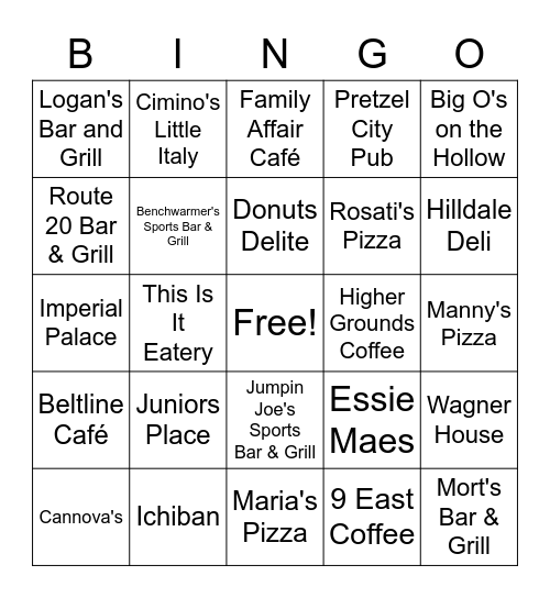 Stephenson County Restaurants Bingo Card