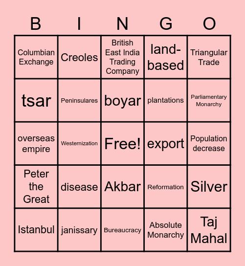 APWH Unit 2 Review Bingo Card
