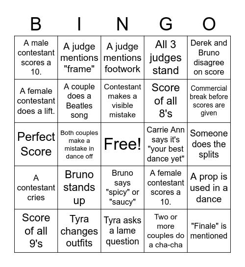 DWTS Bingo Week 9 Bingo Card