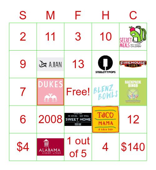 Backpack Bingo Card
