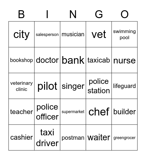 Jobs and Places Bingo Card