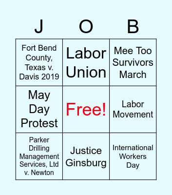 Labor Rights Bingo Card