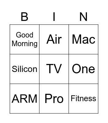 One More Thing Bingo Card