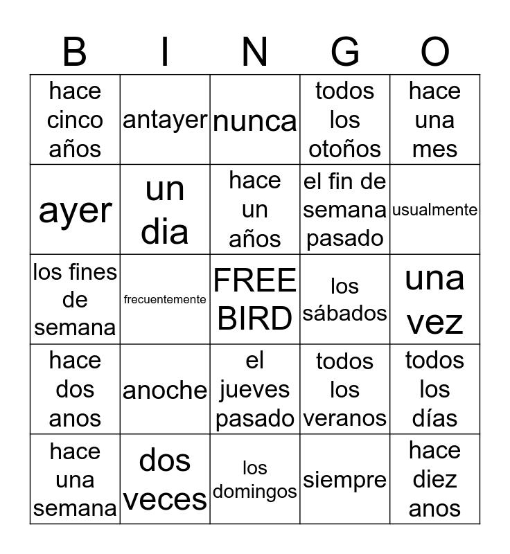 Triggers of Preterite Bingo Card