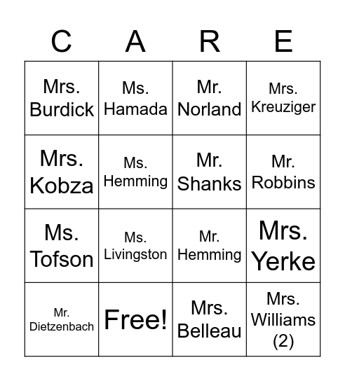 Food Drive Fun Bingo Card