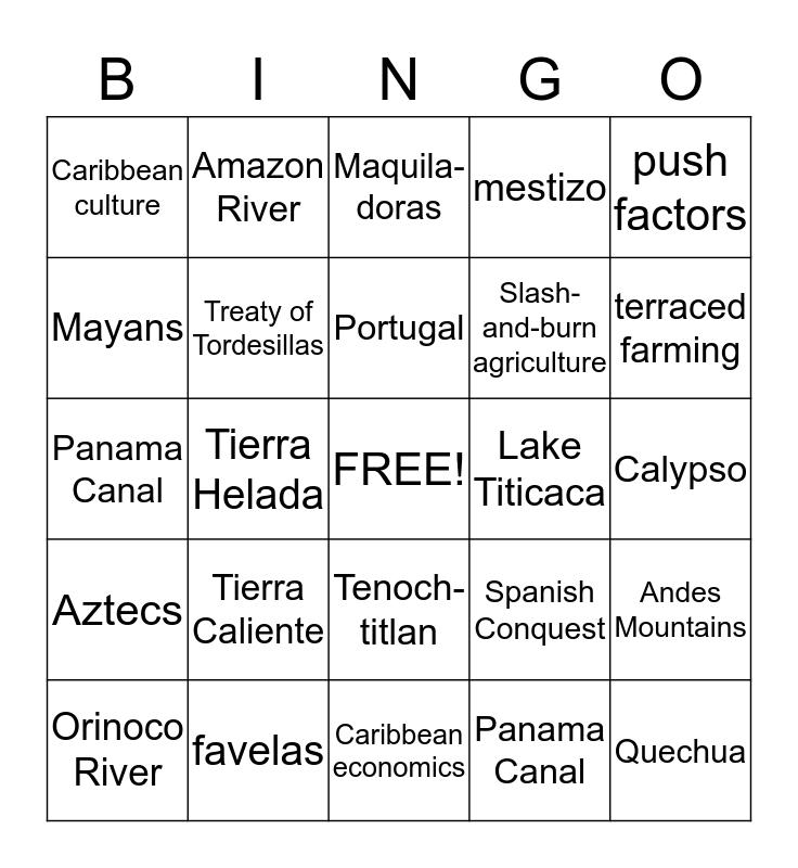Latin America  Bingo Card