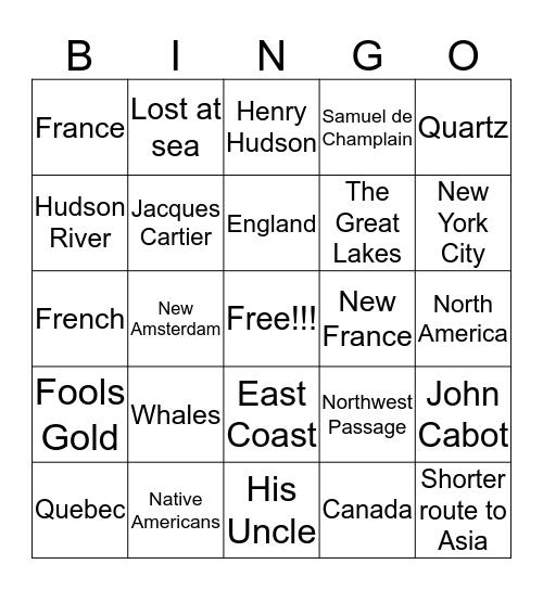 European Explorers Bingo Card