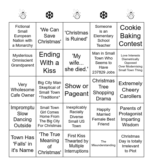 CHRISTMAS MOVIE BINGO Card
