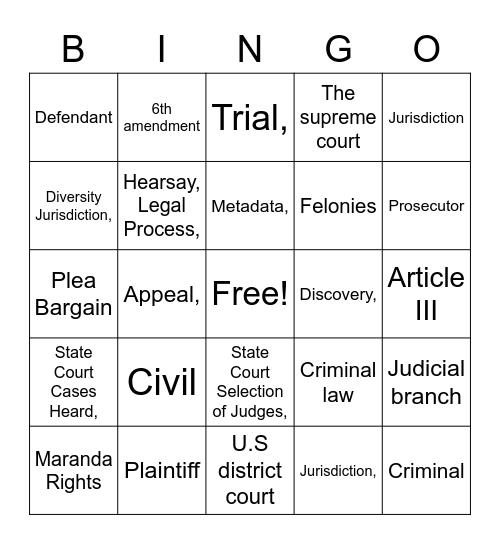 Judicial branch Bingo Card