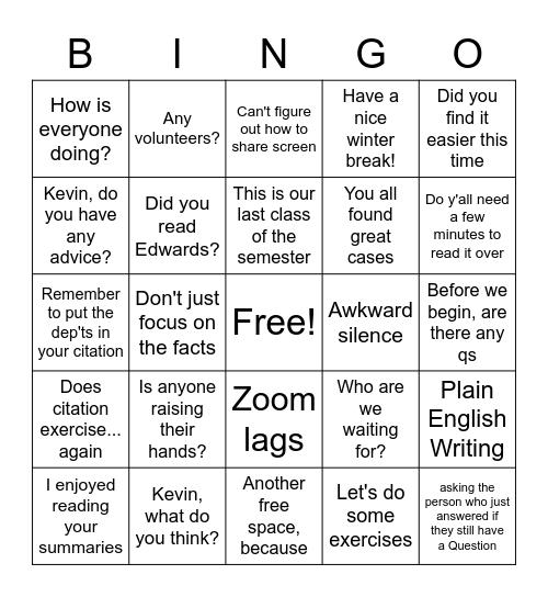F6 Bingo Card
