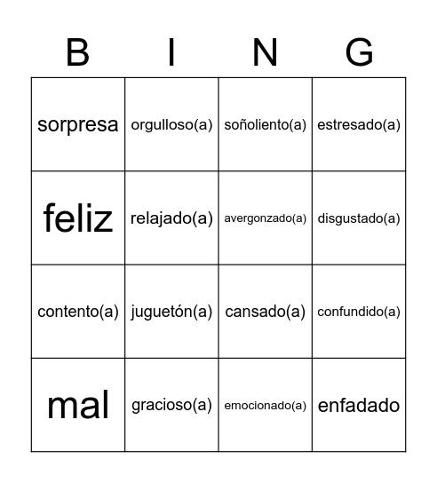 Emociones Bingo Card