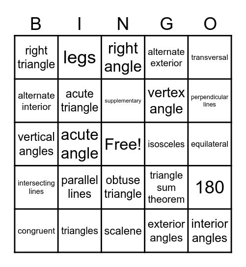 Triangles, Parallel Lines, & Transversals Bingo Card
